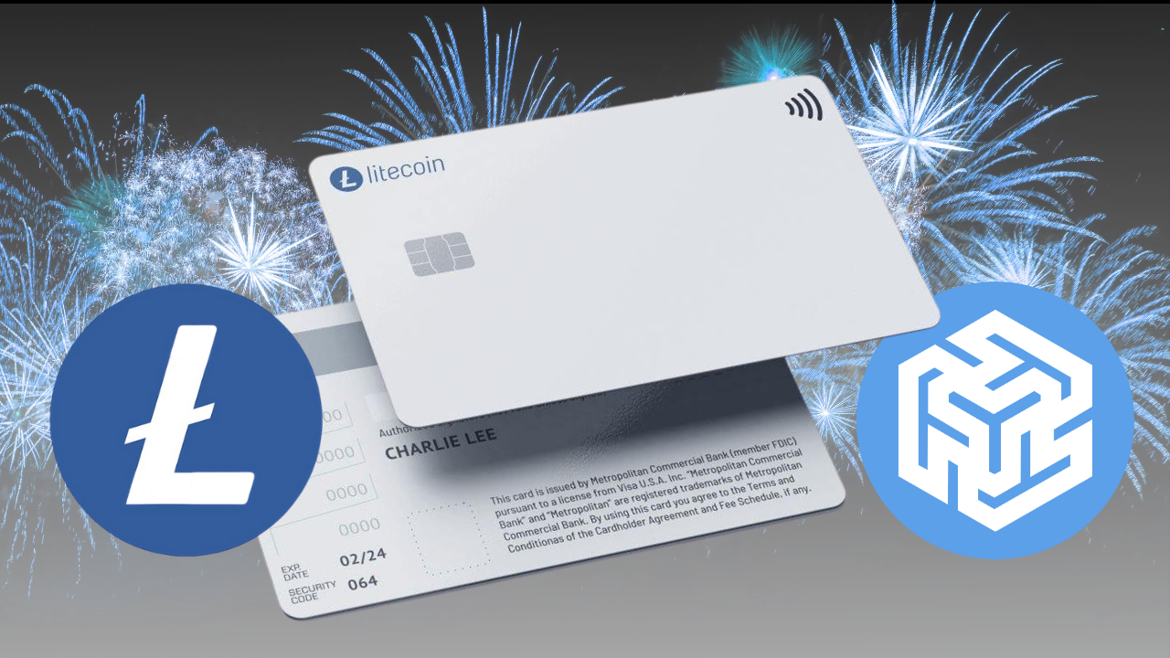 The Litecoin Card next to the Litecoin Foundation and Ternio logos with blue fireworks.